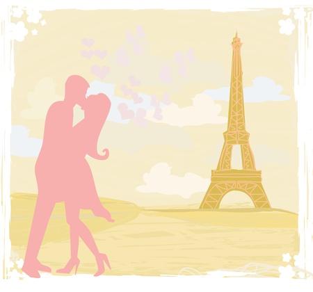 Romantic couple in Paris kissing near the Eiffel Tower Retro card Stock Vector - 13121706
