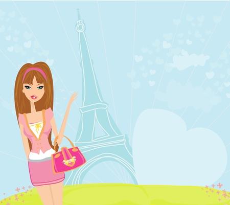 shoptalk: beautiful women Shopping in Paris - vector card