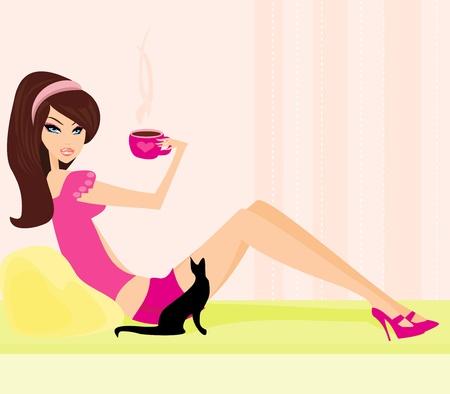 romance bed: coffee break  Illustration