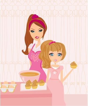 Happy mother helping her daughter cooking in the kitchen