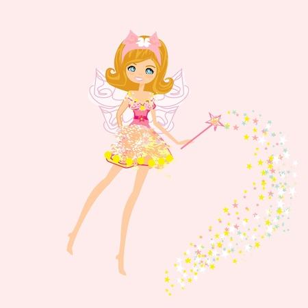 female pink: beautiful fairy vector graphic  Illustration