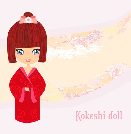 Kokeshi doll on the pink background with floral ornament  Vector