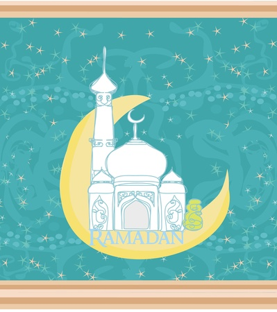 Ramadan background - mosque silhouette vector card  Vector