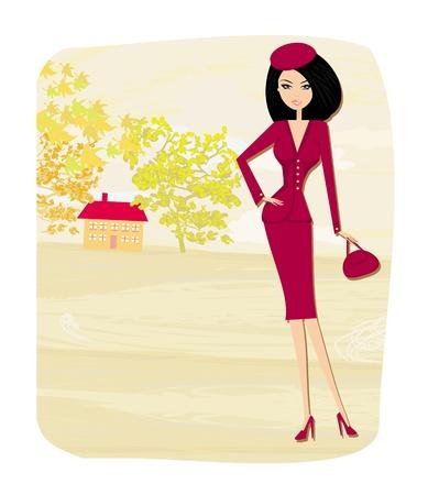 azal�e: automne fille belle - vecteur