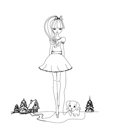 girl drawing: Girl and her puppy  Illustration