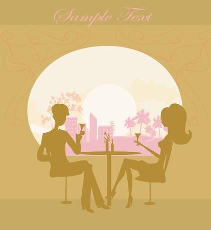 Young couple flirt and drink champagne Stock Vector - 13205134