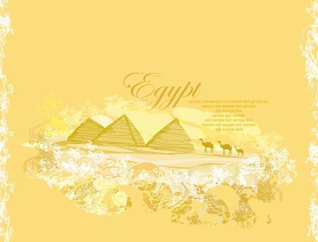papel viejo con pirámides de Giza Ilustración de vector