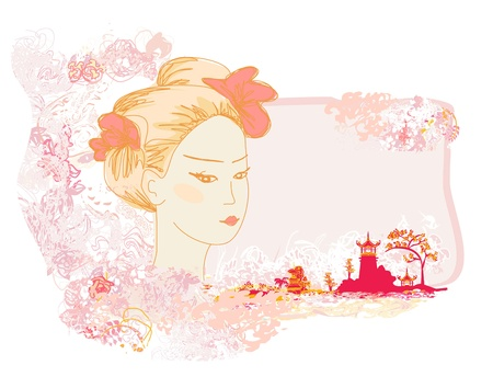 Abstract Beautiful geisha Portrait and asian landscape  Vector