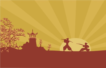 old paper with Samurai silhouette  Vector