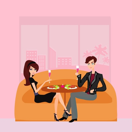 diner: Young couple flirt and drink champagne  Illustration