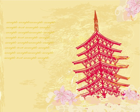 old paper with Asian Landscape Stock Vector - 13205163