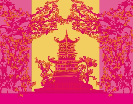 old paper with Asian Landscape Stock Vector - 13205157