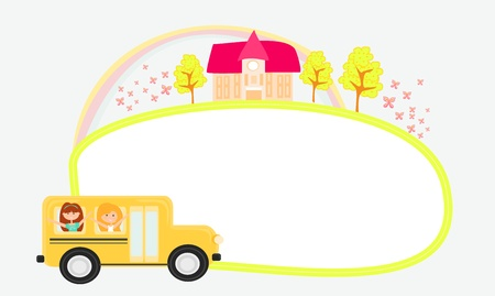toga: a school bus heading to school with happy children  Illustration