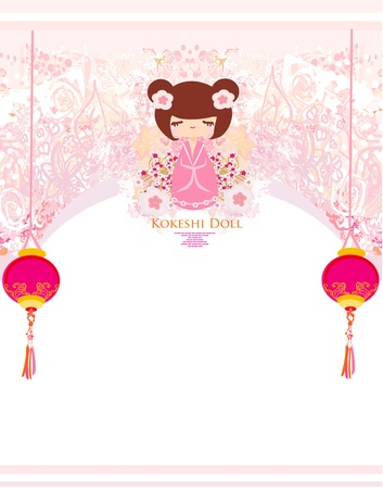 Kokeshi doll on the pink background with floral ornament Stock Vector - 13205200