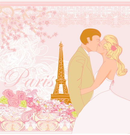 french culture: wedding couple in Paris kissing near the Eiffel Tower