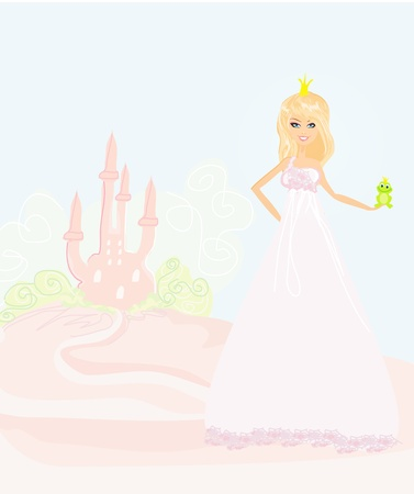 Beautiful young princess holding a big green frog  Stock Vector - 13205192