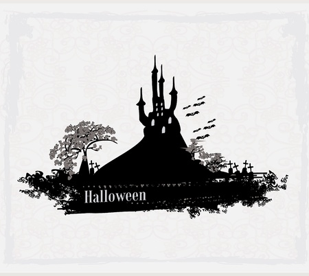 grungy Halloween background with haunted house  Stock Vector - 13221747
