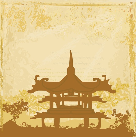 old paper with Asian Landscape Stock Vector - 13221756