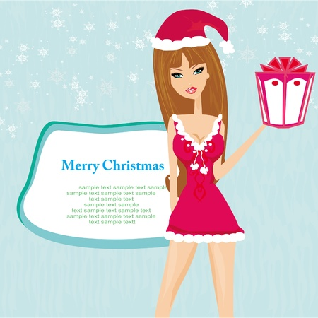 beautiful pin-up girl in Christmas inspired costume Stock Vector - 13221744