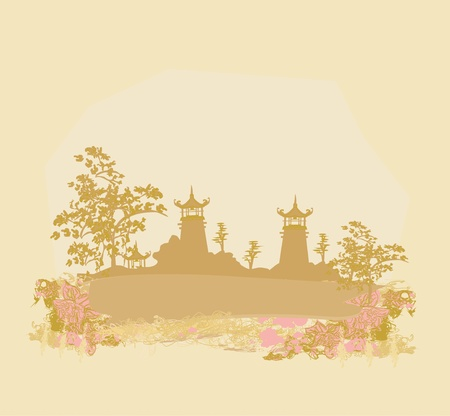 old paper with Asian Landscape  Stock Vector - 13221753