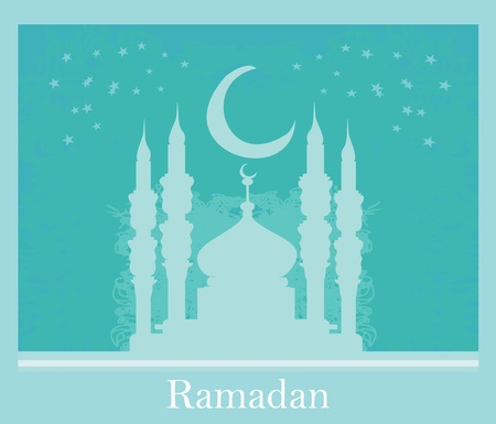 relegion: artistic pattern background with moon and mosque