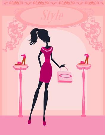 Fashion girl shopping in shoe shop Stock Vector - 13221761