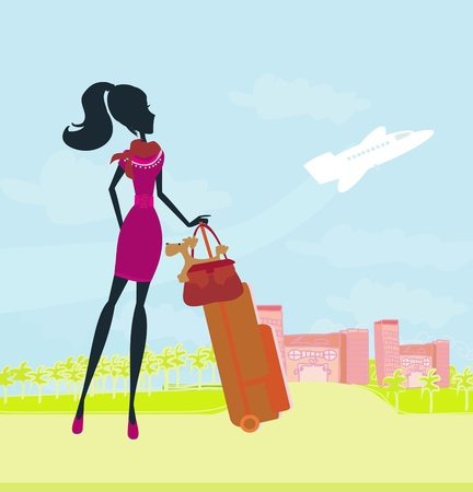 beauty travel girl with baggage  Vector