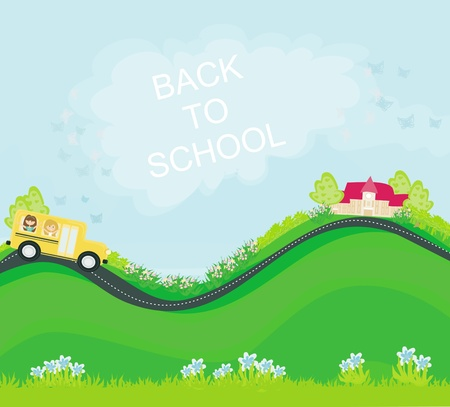 school bus heading to school with happy children  Vector