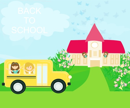 school bus heading to school with happy children Stock Vector - 13243427