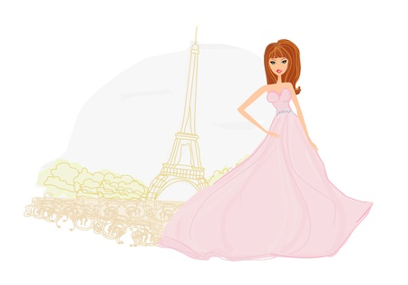 beautiful women Shopping in Paris  Vector