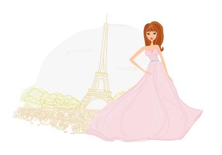 beautiful women Shopping in Paris Stock Vector - 13280777