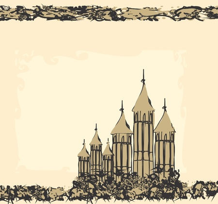 Illustration of the castle in retro style  Vector