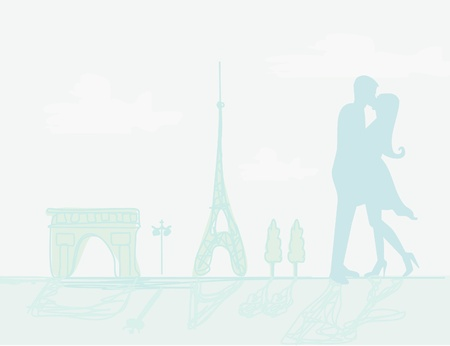 Romantic couple in Paris kissing near the Eiffel Tower Retro card  Vector