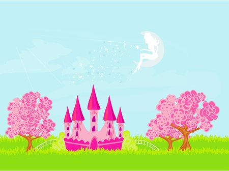 fairy flying above castle  Vector