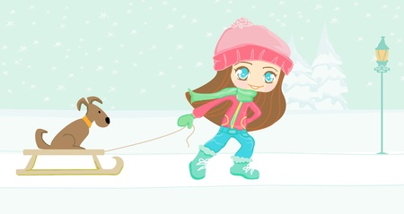 damsel: sweet girl and her dog