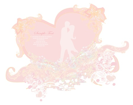 Floral greeting card with silhouette of romantic couple  Stock Vector - 13280813