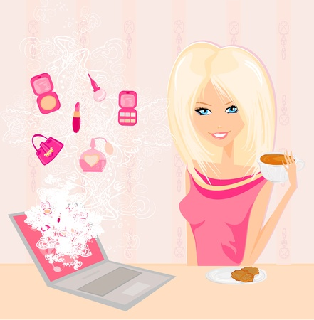 Online shopping - young smiling woman sitting with laptop computer  Vector