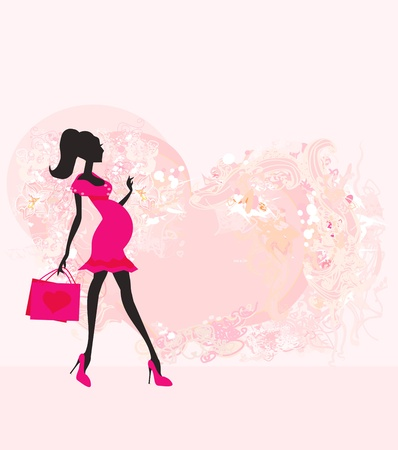 Beautiful pregnant woman on shopping for her new baby- abstract background  Vector