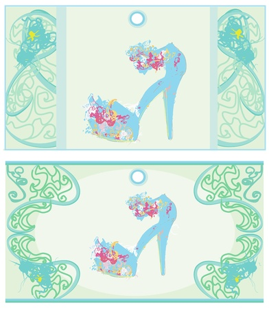 Price Tags With shoes vintage set  Vector