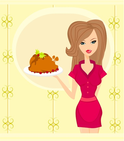 Beautiful lady cooking chicken  Stock Vector - 13327123