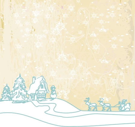 Happy New year card with Santa and winter landscape Stock Vector - 13327134