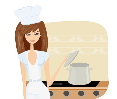 Beautiful lady cooking soup  Vector
