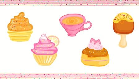 sweet dessert set Stock Vector - 13327124