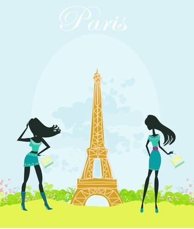 beautiful girls Shopping in Paris