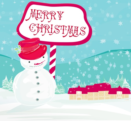 Happy snowman card  Vector