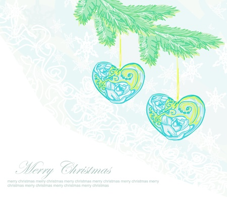 Christmas background  Christmas branch and ball in form heart   Vector