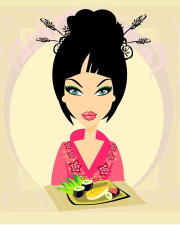 beautiful Asian girl enjoy sushi - menu template  Stock Vector - 13343064