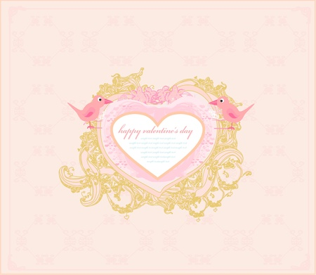 valentines day greeting card with 2 sweet love birds Stock Vector - 13343088