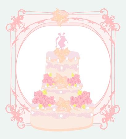 wedding cake card design  Stock Vector - 13343137