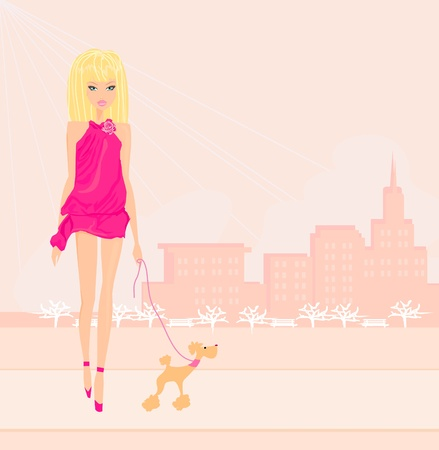 outdoor glamour: Girl and her puppy  Illustration